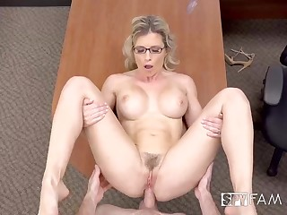 Big-Chested blondie gal is having unpremeditated fuckfest in her office, instead of doing her job