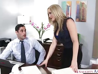 Expert ash-blonde assistant is repeatedly having casual hook-up in her office, with her fucking partner stranger work