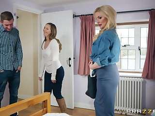 The man MILF whore Georgie Lyall blows a detailed rod and gets cum on face