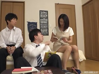 Brunette amateur Japanese MILF pounded in a bathroom threesome