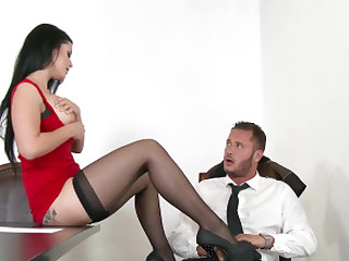 Katrina Drill-hole groping her co-worker on the office table