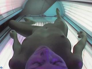 Voyeur webcam uncovered girl in solarium part17