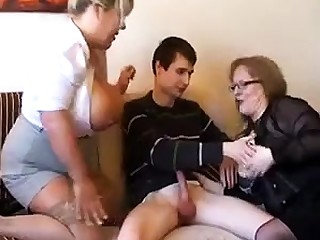 Old fat slutty granny in pantyhoes fucked firm in threesome