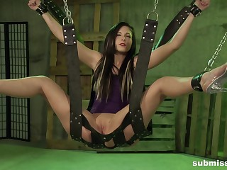 Teen submissive slut Jade Thomas hanged and abused in a dungeon