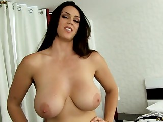 Mammal dark-haired all round fat funbags, Alison Tyler luvs apropos deep-throat meatpipe and taste some new jizm