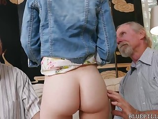 Crimson haired suitor is having casual bang-out with 2 old dude in her living apartment