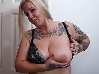 Tattooed chick Tattiana wants to moan while she plays nearly a dildo