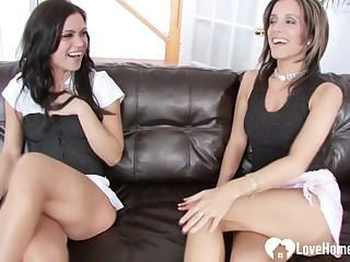 Horny beauties pleasure each other's wet slits