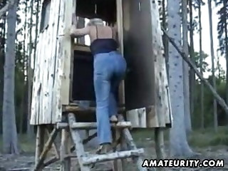 Mature amateur wife sucks plus fucks outdoor helter-skelter facial cum