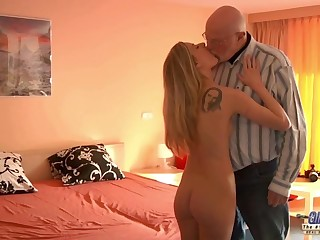 Young Secretary evaluation old man king fucks beautiful girl