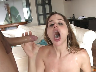 Blonde slut Cathy Heaven loves two cocks at one go and cum