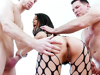 Asian starlet deals two monsters in supreme modes