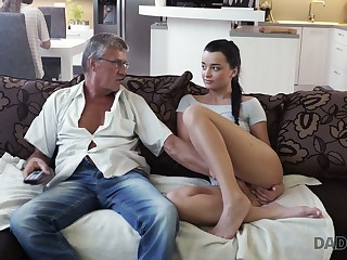 Old fart enjoys fucking cute stepdaughter's girlfriend Jessica