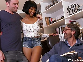 Stepson and stepdad fuck ebony chick Jenna Foxx and cum on will not hear of black boobs