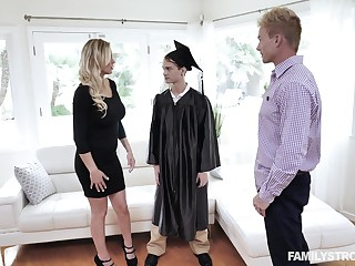 MILF stepmom fucks stepson after his graduation and that woman is great as hell