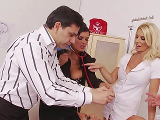 Jasmine Black invites over her coworkers for large group sex