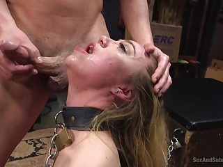 Enjoyable looking blonde girl Lyra Law pledged and facefucked, in a facial