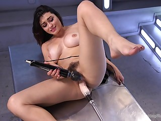 Gorgeous Raven Rocket masturbates with her large sexual intercourse toys badly