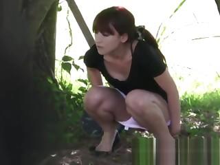 Mesmerizing Japanese peeing while watching ships nearby Puerto