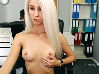 Gorgeous Blonde Bitch Gets Her Pussy Wet By Masturbating With Fingers