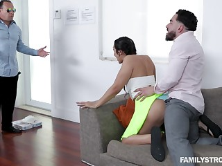 Latina cutie Lilly gets caught having sex with her stepbro wide of her stepdad