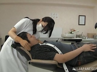 Sexy Japanese dentist gives her pussy to her handsome patient
