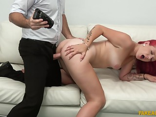 Redhead fucked in doggy style with the addition of made to pay off