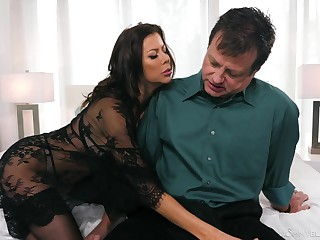 Hungry MILF sucks like no other and gives some killer titjob