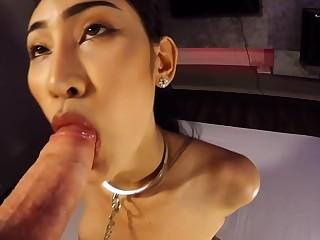 Busty Thai ladyboy street slut added to a POV style blowjob