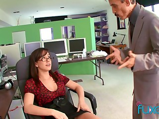 Busty secretary teases the boss increased by gets the sexual congress she wants