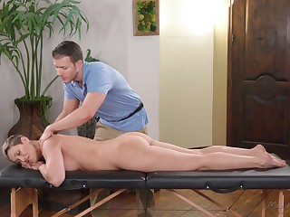 Handsome massage boy tries to impress effects cougar Ryan Keely
