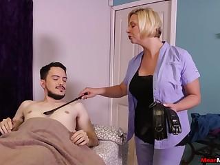 Hot mature promises young lad tiptop handjob