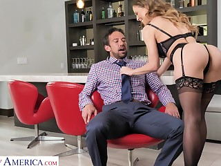 Curvaceous MILF in black tights Cherie Deville enjoys riding sloppy flannel