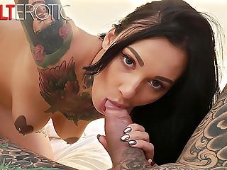 Tattooed bombshell Adel Asanti sucking a thick cock