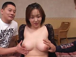 Hardcore threesome fucking between two guys coupled with downcast Naho Kuroki