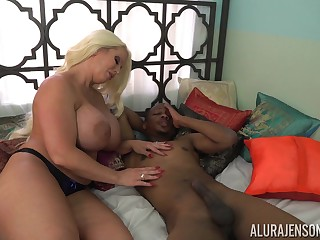 Whacking big voluptuous cock slayer Alura Jenson loves interracial fuck