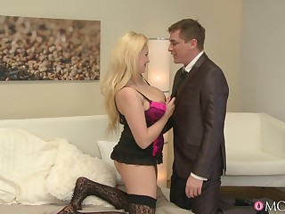 Blonde wife with large on the up boobs enjoys having passionate sex