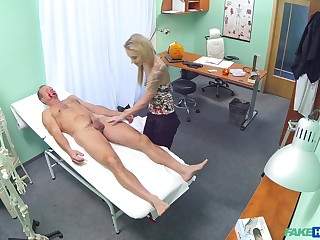 Vibrant fucking between a doctor and sexy blonde Angel Piaff