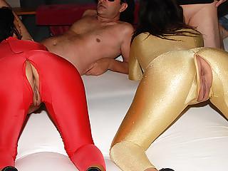 spandex catsuit groupsex party