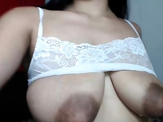 Busty frizzy brunette with big boobs fucks not susceptible couch