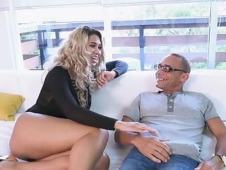 Shutters blonde devours older man's dick in appealing XXX